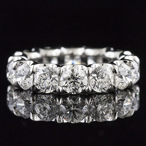 PPD244-101P Modern Vintage inspired prong set diamond open curved arm platinum wedding eternity band