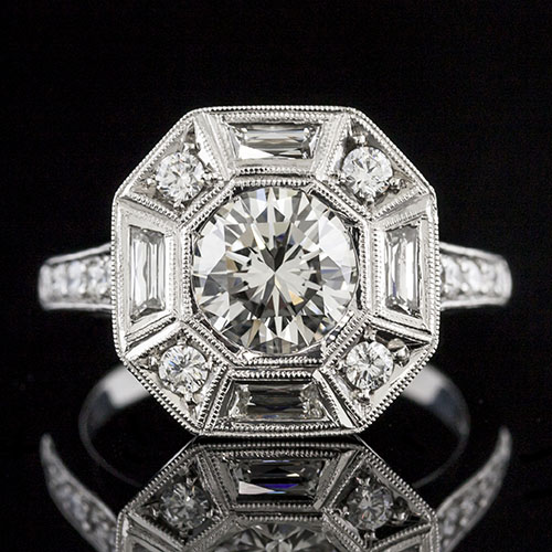 859-103P Octagonal halo Art Deco French cut baguette and Pave set diamond platinum engagement ring semi mount