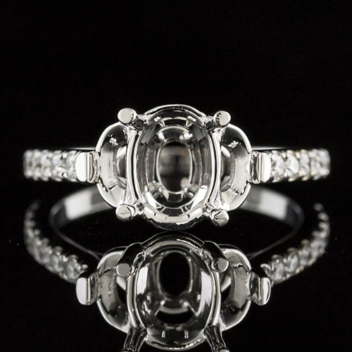1621-1 Oval center with half-moon side accents Modern Vintage platinum engagement ring semi mount