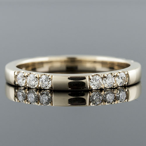 PPD159Y-101P Mid Century-inspired grooved diamond group 14K yellow gold domed asymmetric wedding eternity band