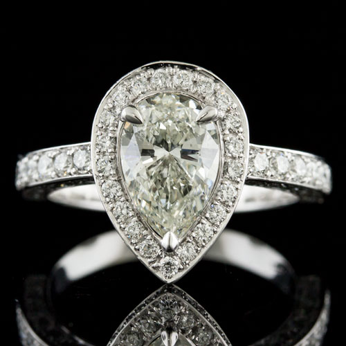 1431-1 Pave set diamond pillow-halo Art Deco-inspired platinum engagement ring semi mount