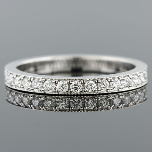 Pave set round white diamond platinum 2.4mm-wide half-stone wedding eternity band M106-101P