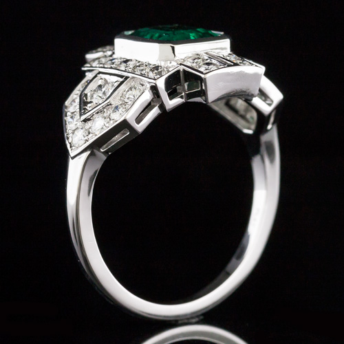 1629-1 Reproduction Art Deco Pave set diamond shield halo platinum engagement ring semi mount