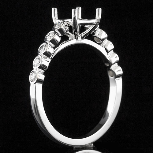 1634-1 Reproduction Modern Vintage bezel-set diamond platinum engagement ring semi mount