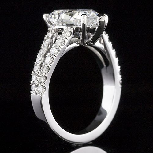 1627P-1 Split shank Modern Vintage groove-set diamond platinum engagement ring semi mount