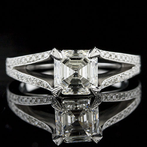 1430-1 Split shank micro Pave diamond set Art Deco inspired platinum engagement ring semi mount