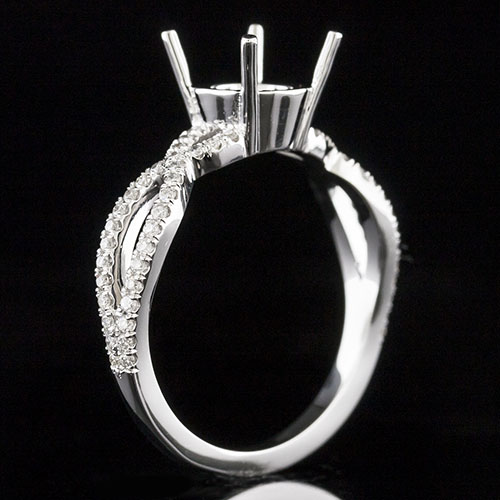 1700-1 Split twisted shank groove-set diamond Vintage platinum engagement ring semi mount