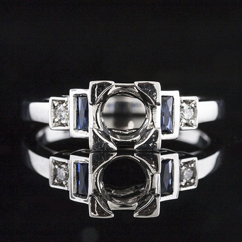 882-420P Stepped Art Deco French cut sapphire with Pave set diamond platinum engagement ring semi mount