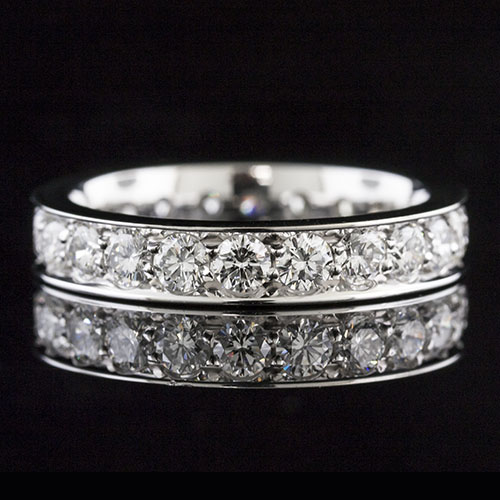 M102D-101P Stylish Modern Vintage design Pave set diamond eternity wedding band