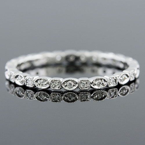720S-101P Thin Art Deco Micro Pave-set diamond Mini Mania series shaped platinum eternity wedding band