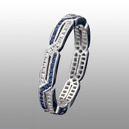 545S-420P Thin Art Deco geometric interwoven dual channel sapphire & diamond Mini Mania series