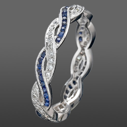 546S-420P Thin Art Deco woven sapphire and Micro Pave-set diamond Mini Mania series platinum eternity wedding band
