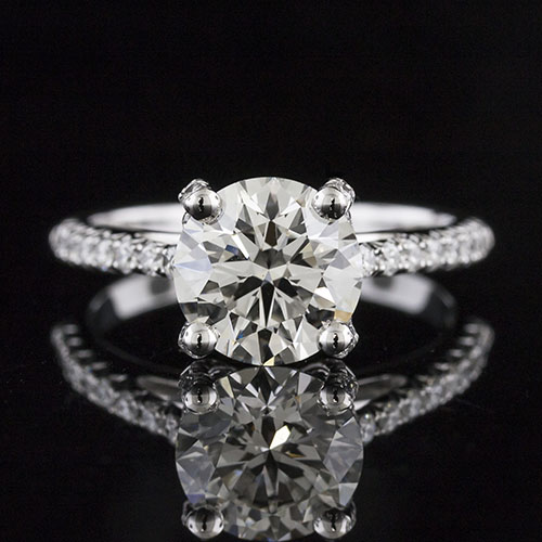 1493-1 Transitional-style high set diamond center cutdown-set diamond platinum engagement ring semi mount