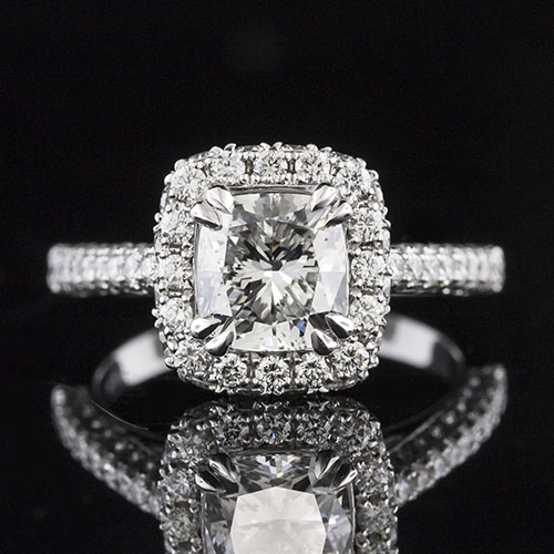 1498-1 Transitional-style triple and double-row Pave set diamond platinum halo engagement ring semi mount