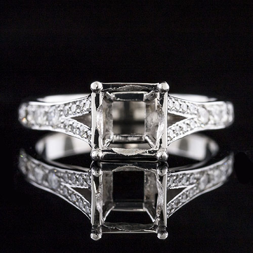 1609-1 Transitional Pave set diamond split shank platinum engagement ring semi mount