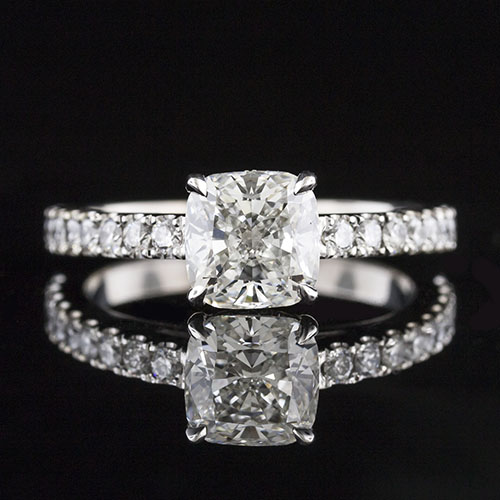 1607-1 Transitional groove-set diamond platinum engagement ring semi mount