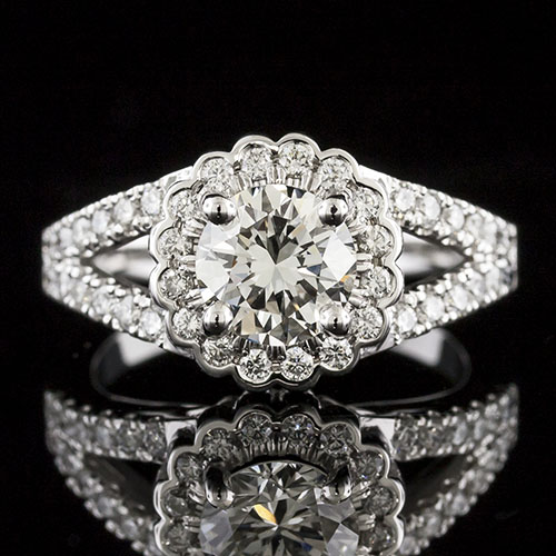 1630-1 Transitional split shank and scalloped floral-inspired halo diamond platinum engagement ring semi mount