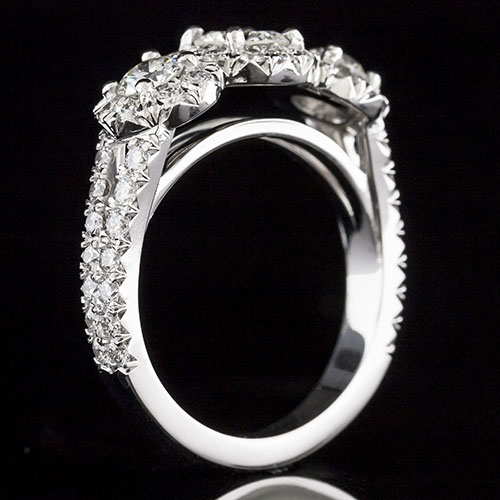 1631-1 Triple halo three stone Modern Vintage-inspired split shank diamond platinum engagement ring semi mount