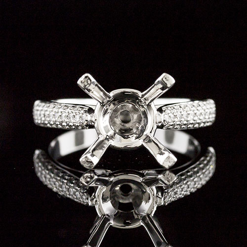 1649-1 Triple row Micro Pave-set diamond Vintage reproduction platinum engagement ring semi mount