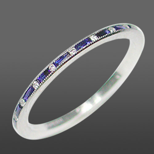 055B-420P Ultra thin alternating French cut baguette sapphire and round white diamond platinum wedding eternity band
