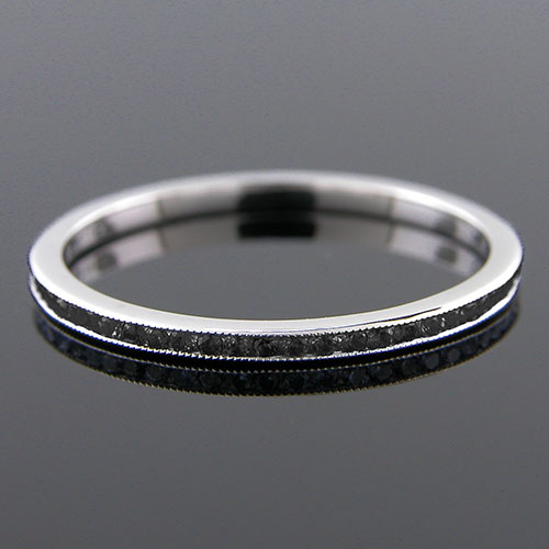 055-190P Ultra thin channel set round treated black diamond platinum wedding eternity band