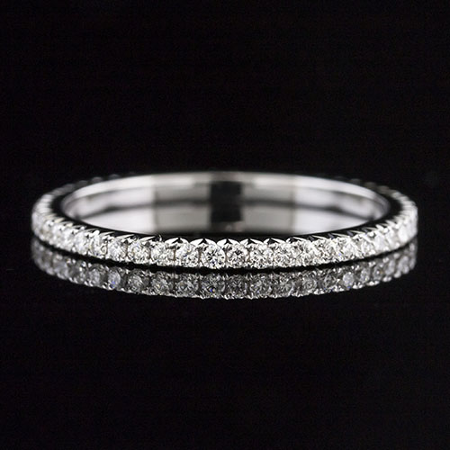 058C-101P Ultra thin cutdown-set round white diamond platinum wedding eternity band