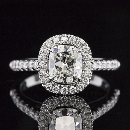 1454-1 Vintage-inspired flush fit groove-set diamond halo engagement ring semi mount