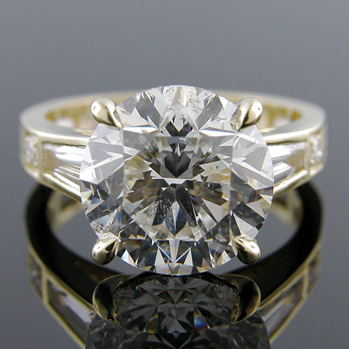 1397G-1 Modern Vintage fancy tapered, straight baguette and Pave set diamond 18K gold engagement ring semi mount