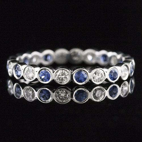 801-420P Vintage inspired individually bezel-set sapphire and diamond platinum shaped wedding eternity band