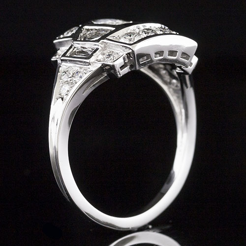 1640-1 Vintage inspired trapezoid diamond, baguette and round diamond platinum curved engagement ring semi mount