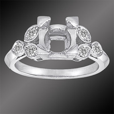 002-1 Antique reproduction Pave set diamond leaf motif platinum semi mount