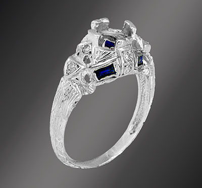 Antique reproduction fancy French cut sapphire baguette with diamond platinum semi mount 008-4
