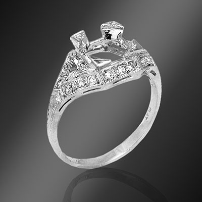 035-1 Antique reproduction fancy French cut trillion diamond and round diamond platinum semi mount
