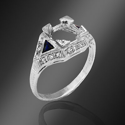 035-4 Antique reproduction fancy French cut trillion sapphire with diamond platinum semi mount