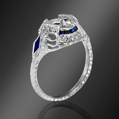 Antique reproduction French cut sapphire, fancy kite-shaped sapphire and round diamond platinum semi mount 038-4