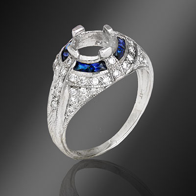 040E-4 Antique reproduction French cut square sapphire with round diamond domed top platinum semi mount