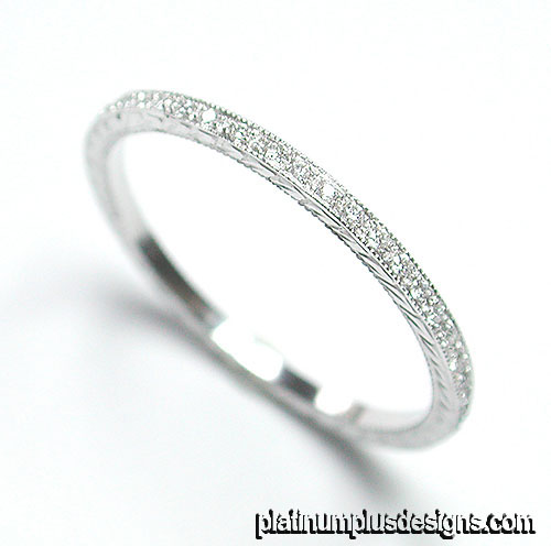 050-101 Ultra thin Micro Pave set diamond platinum wedding eternity band