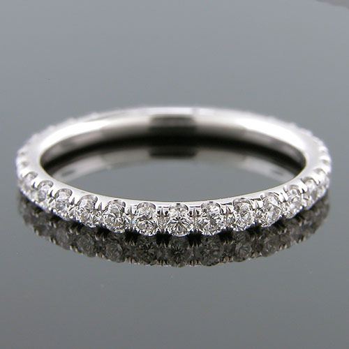 061A-101P Micro groove-set 1.95mm-thin platinum round profile eternity wedding and guard band 061A-101P