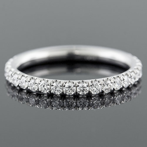 Micro groove-set 1.95mm-thin platinum half-stone round profile wedding and guard band 061AH-101P