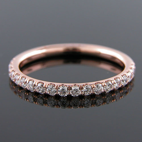 Micro groove-set 1.95mm-thin Pink gold half-stone round profile wedding and guard band 061AHP-101P