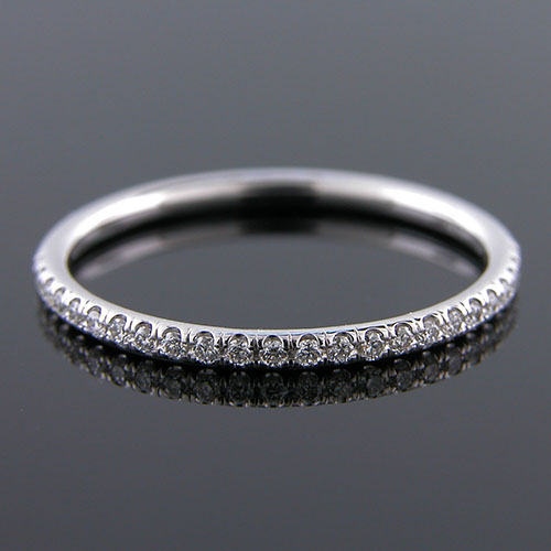 Micro groove-set 1.5mm-thin platinum half-stone round profile wedding and guard band 061BH-101P