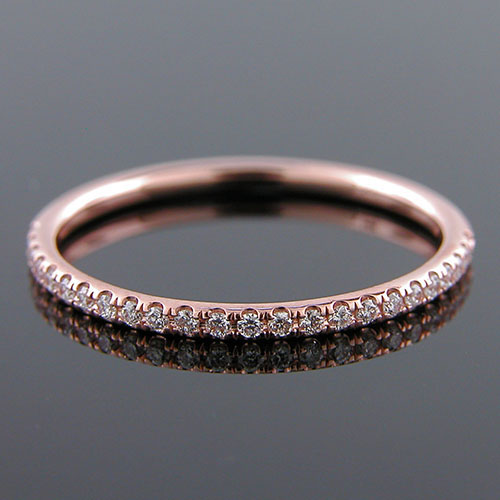 Micro groove-set 1.5mm-thin Pink gold half-stone round profile wedding and guard band 061BHP-101P
