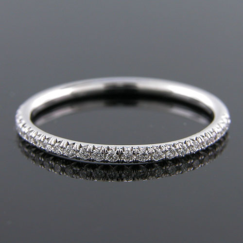 Micro prong set 1.5mm-thin platinum half-stone wedding and guard band 062H-101P