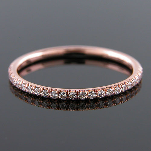 Micro prong set 1.5mm-thin Pink gold half-stone wedding and guard band 062HP-101P