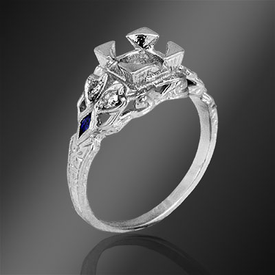 Antique reproduction fancy kite-shaped sapphire and round diamond platinum semi mount 073-4