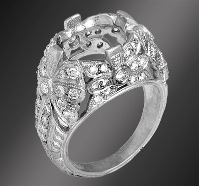 078C-1 Antique reproduction Micro Pave set diamond floral motif platinum semi mount - Click Image to Close