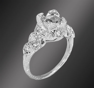 Antique reproduction diamond platinum semi mount 1032-1