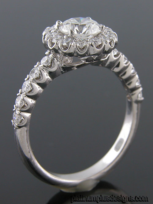 1158F-1 Vintage inspired fishtail-set diamond platinum semi mount engagement ring setting