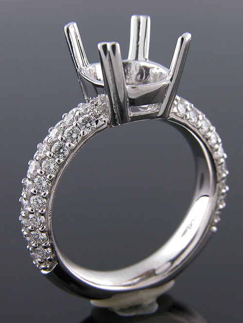 1162-1 Custom designed Vintage inspired platinum three row Micro Pave diamond mount