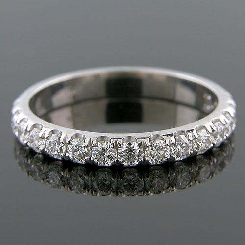 1166W-101P Contemporary groove set diamond domed profile half stone platinum wedding eternity band